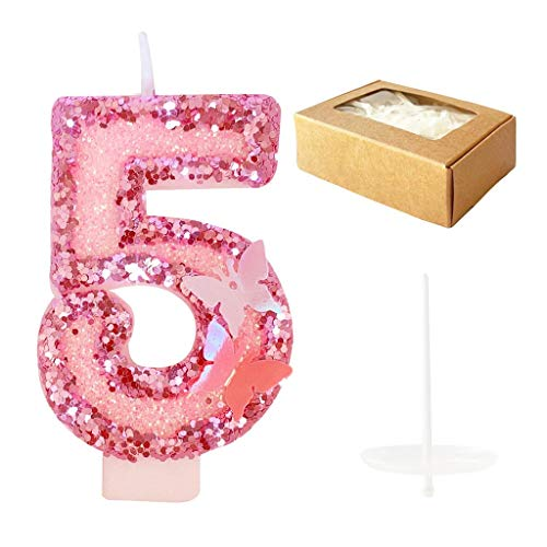 Dadybaby Birthday Candles Number 5,Pink Glitter Happy Birthday Cake Candles Handmade Sequin Numeral Candle