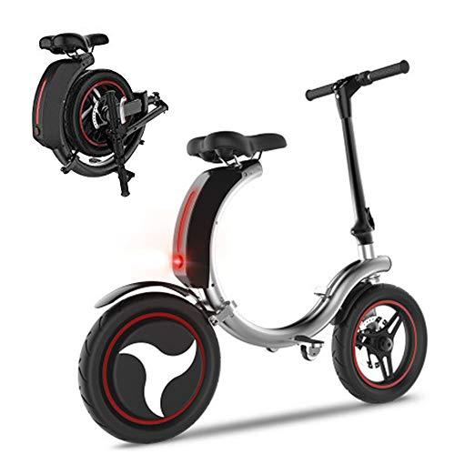 LASTING Mini Plegable Scooter electrico, 14 '' neumáticos 350W Motor sin escobillas, 36V 7.8AH Bicicleta de batería de Litio Smart E-Bike con Panel indicador HD, IP67 a Prueba de Agua Silver