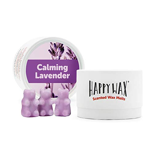 Happy Wax - Calming Lavender Soy Wax Melts - Lavender Scented Wax Melts Infused with Natural Essential Oils - Cute Bear Shaped Wax Melts Perfect for Melting in Your Wax Warmer (3.6 Oz Classic Tin)