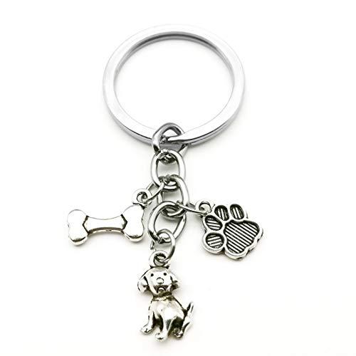 JLZK Lindo Llavero con Estampado De Pata De Animal I Love Dog Colgante Mini Corazón Llavero Llave De Coche Hombre Niña Regalo Favorito Recuerdo