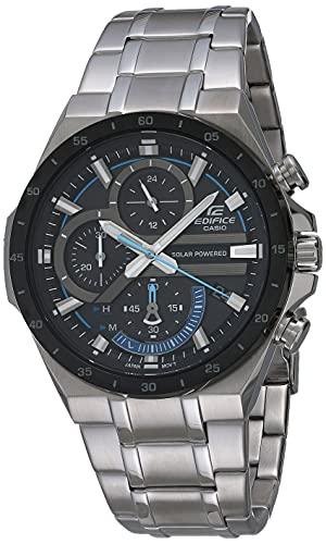 Casio Edifice Reloj de cuarzo para hombre con correa de acero inoxidable, plateado, 28.5 (Modelo: EQS-920DB-1BVCR)