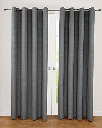 Homescapes handgewobener Vorhang Rajput im 2er Set Ösenvorhang 170 x 230 cm (Breite x Länge) Dekoschal in RIPP-Optik aus 100prozent Reiner Baumwolle in grau