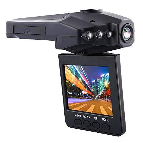 KawKaw KFZ-Dashcam, Überwachungskamera und 2,4 Zoll & 1080P FHD Display mit Bewegungsmelder, 90 Grad Sichtfeld und IR-Nachtsicht - 270 Grad Drehung und 6 LED-Lichtern für Vorne in kompaktem Design