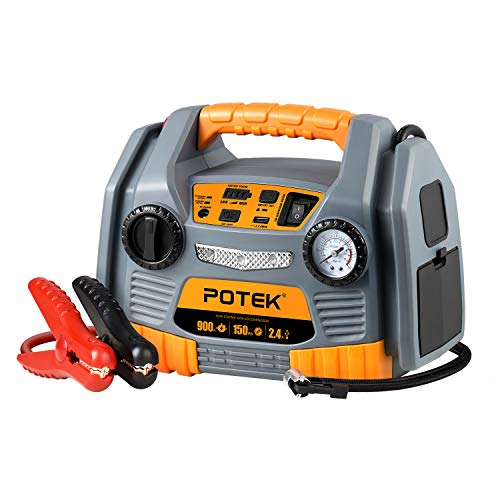 Purchase POTEK Jump Starter Source with 150 PSI Tire Inflator/Air compressor,900 Peak Amps Power Sta...