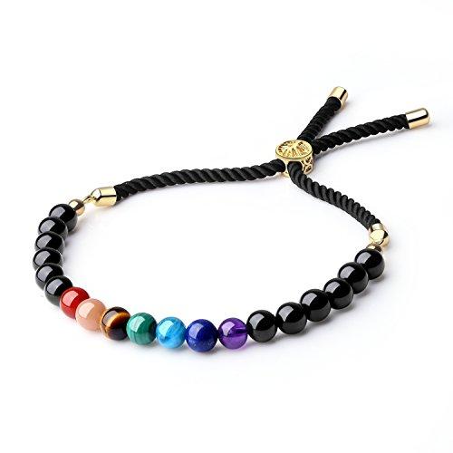 coai Mala Beads Black Obsidian Stone 7 Chakra Bracelet for Women