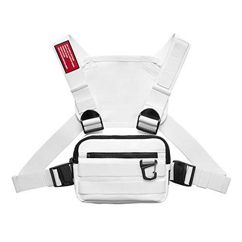 Leezo - 1 riñonera táctica para hombre, chaleco táctico, función de hip hop, bolsa para correr al aire libre, caminar, camping, senderismo, senderismo, blanco