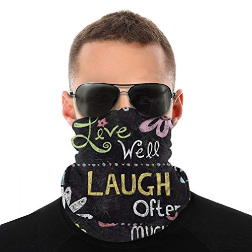 ~ Welcome Love Laugh Live Pattern Full Drill Small Garden Multifunctional Gaiter Face Scarf Elastic Neck Cover Breathable Face Cover Dust Mouth Mask Bandanas Balaclava Uv Sun-Protection Sun Block