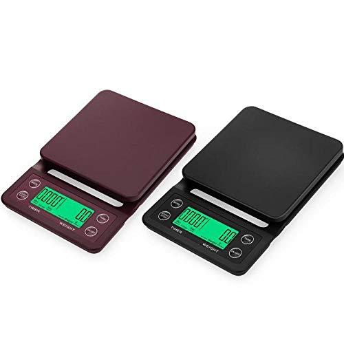 Báscula Digital de Cocina,Balanza de Alimentos Multifuncional, Escala de Peso de Alta Precisión con Función de Tara, Pantalla LCD Báscula de Alimentos Electrónica -Vino tinto 5kg / 0.1g