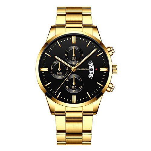 Neu Armbanduhr FGHYH Männer CUENA Men Fashion Military Stainless Steel Analog Date Sport Quartz Wrist Watch Uhr Armbanduhr(Gold)