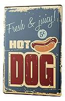 ブリキの看板金属板装飾看板家の装飾プラークノスタルジックな楽しいホットドッグ