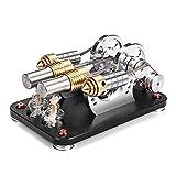 Foxom Motor Stirling Engine Kit, 2 Cilindros Stirling Engine Generador Ciencias Modelo Educativo de...