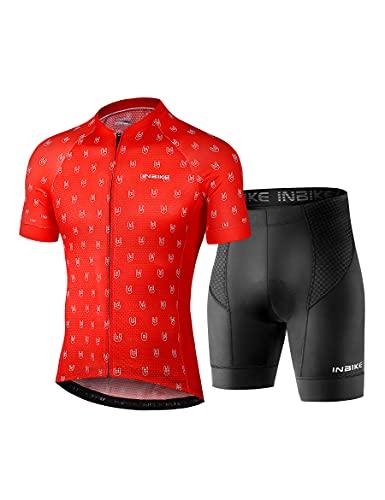 INBIKE Completo MTB Estive Tuta ciclismo Abbigliamento Ciclista Pantaloncicni Corti Gel Imbottiti Traspirante Asciugatura Veloce Uomo(Rosso,XL)