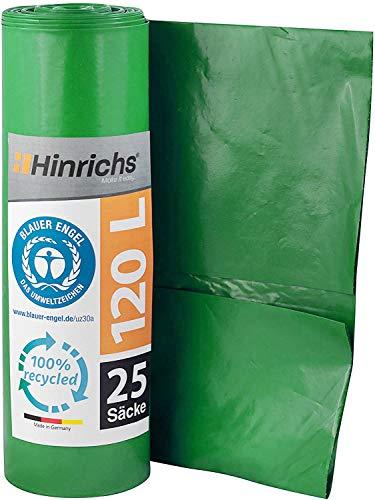 Hinrichs 120 L Sacchi per la Spazzatura - Rotolo da 25-70x110 cm - 70µ - LDPE - Verde