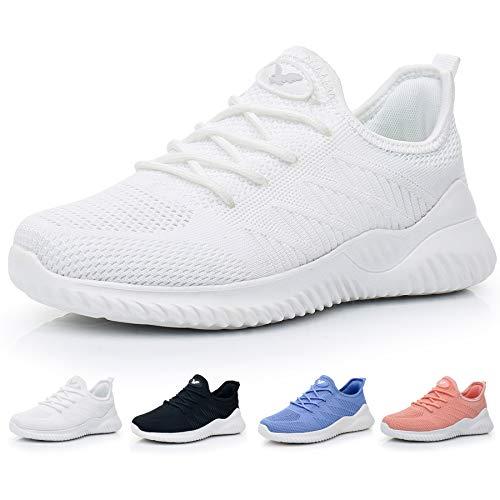 JARLIF Women's Memory Foam Slip On Walking Tennis Shoes Lightweight Gym Jogging Sports Athletic Running Sneakers White 10 B(M) US