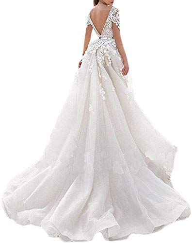Melisa Women's Lace Wedding Dress for Bride with Detachable Train Cap Sleeve Applique Mermaid V nack Bridal Ball Gown Champagne