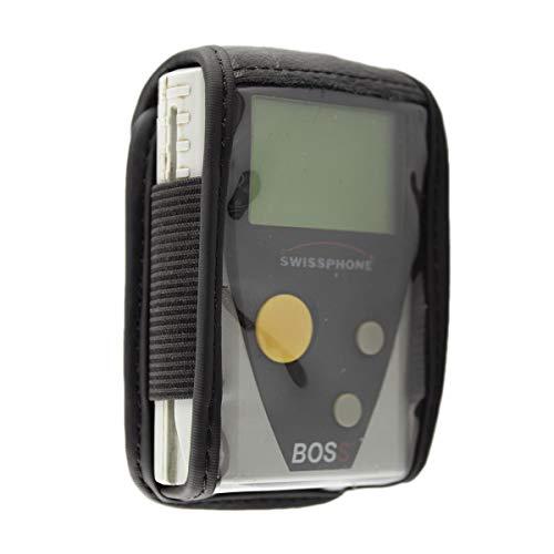 caseroxx Hülle Ledertasche mit Gürtelclip für Swissphone BOSS 900-935 aus Echtleder, Tasche mit Gürtelclip und Sichtfenster in schwarz