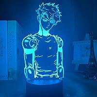 Ledナイトライトランプアニメワンパンマンジェノスフィギュアデスク子供用3Dランプチャイルドルーム装飾アクリルナイトライトマンガギフト-リモコン