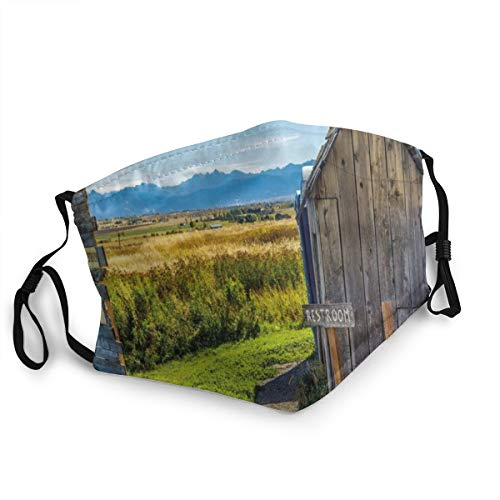 Unisex Adjustable Face Mouth Cover Old Rustic Wooden Cottage Barn Shed In A Farm Village Image Anti Dust Face Guard Cover Can be Washed and Reused