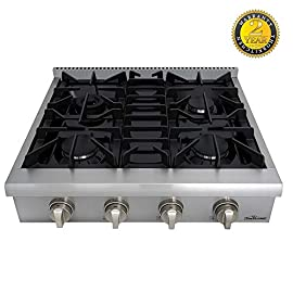 Thor Kitchen Pro-Style Gas Rangetop with 6 Sealed Burners 36 - Inch, Stainless Steel HRT3618U 1 Cooktop:3 single burner x 18,000BTU,3 dual burner x 15,000BTU, 18,000BTU stainless steel griddle Black Porcelain Drip Pan easy cleaning 3 x Heavy Duty Flat Cast-iron Cooking Grates
