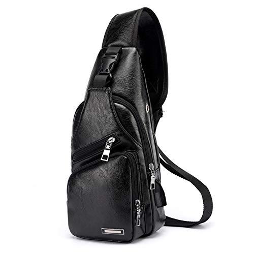 Ksmiley Men's Leather Sling Chest Bag Shoulder Backpack Crossbody Bag Casual Daypack with USB Charging Port for Travel Sport, Black