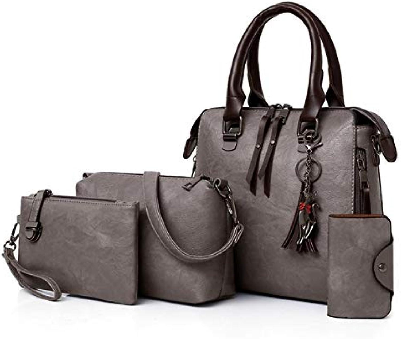QIANHEDAMAI Leder Damen Handtaschen Frauen Messenger Bags TotesQuaste Crossbody Umhngetasche Vier Stück Anzug