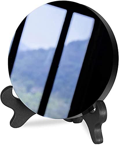 LXTOPN Espejo de 12 cm de obsidiana natural Magic Show Scrying, espejo de mesa negro con soporte para decoración del hogar, yoga y meditación.