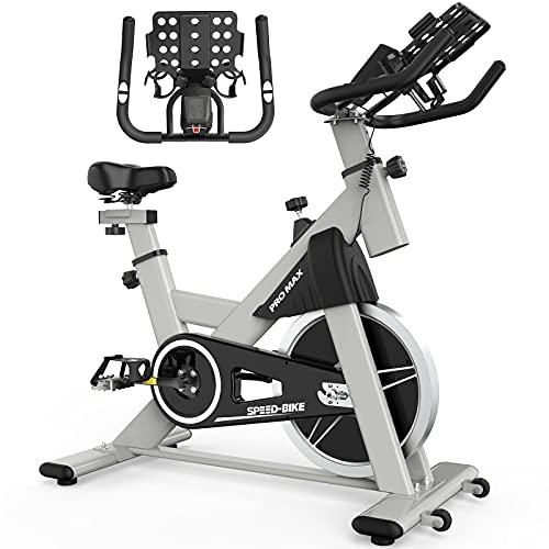 Hayooha Bicicleta estática para el hogar, 40 libras, control magnético, rueda de inercia interior, bicicleta silenciosa, con sistema de monitoreo de ritmo cardíaco y pantalla LED, carga máxima 400 libras