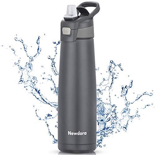 Newdora Trinkflasche,Thermosflasche,Kein Auslaufen,Keine Gerüche,750ml große Kapazität Wasserflasche,BPA Frei,Sportflasche für das Laufen,Fitness,Yoga,im Freien und Camping,mit Reinigungsbürste