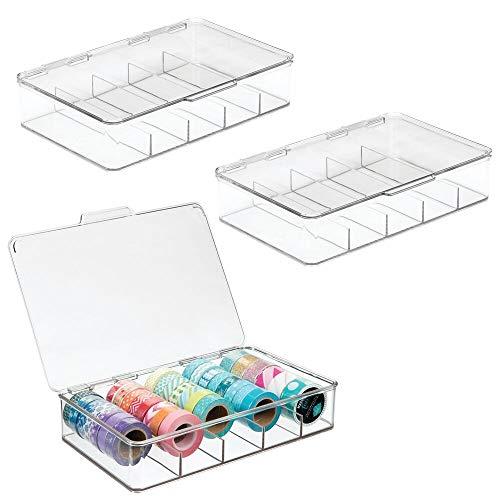 MetroDecor mDesign Art Cajas de Almacenamiento para Cintas, Cintas de, Hilos, Costura, marcadores, bolígrafos, lápices de Colores y Scrapbooking Suministros–Pack de 3, Transparente