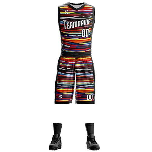 Custom Men Basketball Jersey - Rainbow Jerseys Men - Children Jersey for Boys (Rainbow, Men : L)