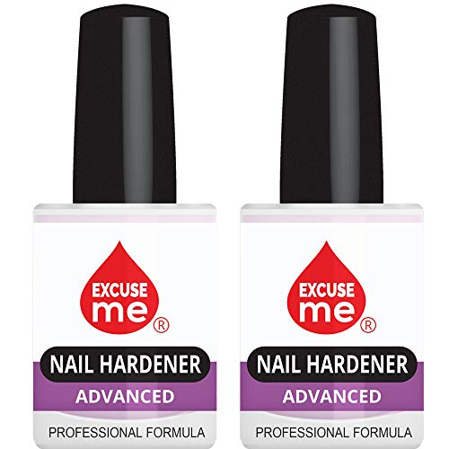 Excuse Me Nail Hardener Advanced Formula Strengthener Nail Growth System 0.5 oz (2PACK)