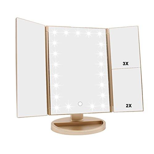 WEILY Espejo de Maquillaje, 21 LED y Aumento 2X/ 3X, Interruptor táctil para Ajustar el Brillo, Modo de Fuente de alimentación Dual Espejo cosmético de Mesa (Oro)