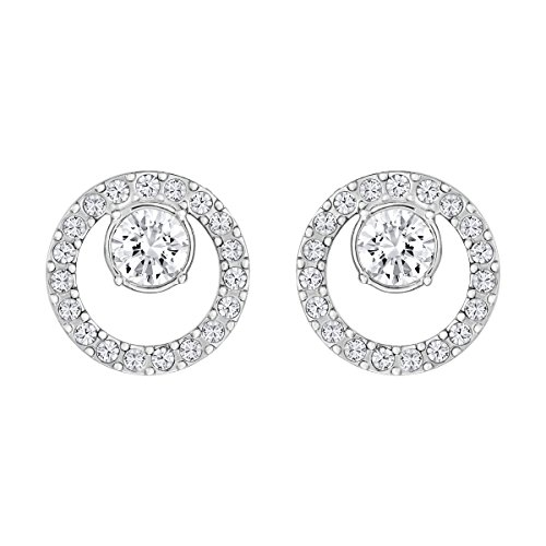 Swarovski Women's Creativity Stud Earrings, Set of White Swarovski Earrings with Rhodium Plating, part of the Swarovski Creativity Collection
