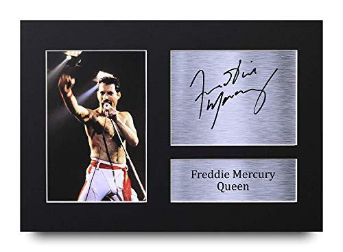 HWC Trading Freddie Mercury A4 Sin Marco Regalo De Visualizacion De Fotos De Impresion De Imagen Impresa Autografo Firmado por Queen Aficionados A La Musica