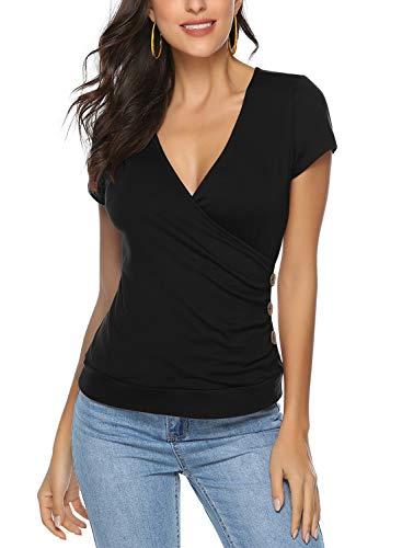 Ehpow Damen T-Shirt Sommer V-Ausschnitt Kurzarm Shirts Oberteile Cross Wrap T-Shirt Tops (Medium, Schwarz)