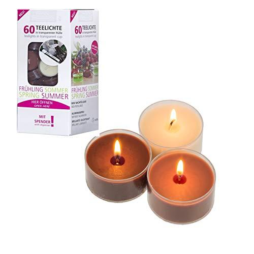 Smart Planet® Kerzen Ambiente - 60 Stück Duftteelichter im Spender Duftkerzen mit Vanillegeruch Teelicht – Vanille Teelichter transparent