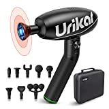 Urikar Massage Gun Heated Deep Tissue Massager Electric Muscle Massager with 180° Rotatable Handle 4 Modes & 6 Speeds 8 Massage Heads for Muscle Pain Relief Gym Office Home Post-Workout