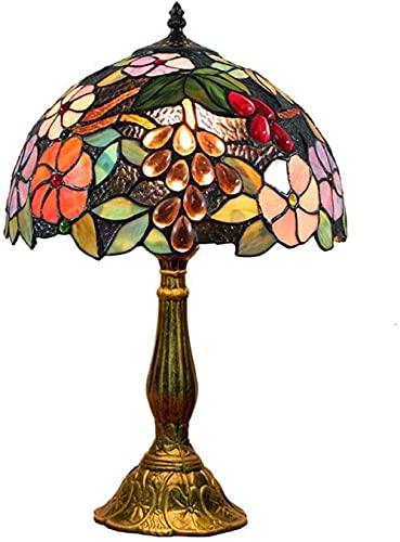 Lámpara de mesa estilo Tiffany Vintage Pastoral Flower Lámparas de mesa estilo vitral 12 pulgadas Retro Pantalla de cristal hecha a mano Lámpara de dormitorio Lámpara de escritorio Art Deco