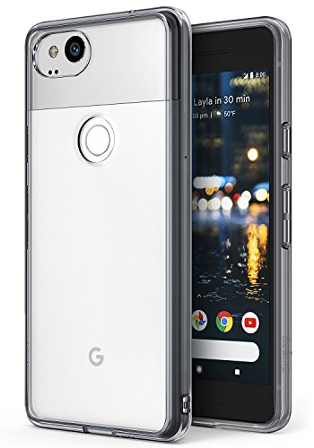 Ringke Google Pixel 2 Hülle, [Fusion] kristallklarer PC TPU Dämpfer (Fall geschützt/Schock Absorbtions-Technologie) für das Google Pixel2 - Rauchschwarz (Smoke Black)