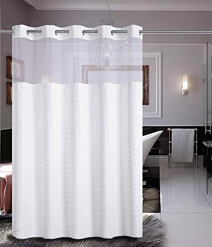 """Conbo Mio Hotel Fabric Shower Curtain for Bathroom with Snap in Liner No Hooks Needed Waterproof Repellent Machine Washable(Grid-White,71""""(W) x 74""""(L))"""
