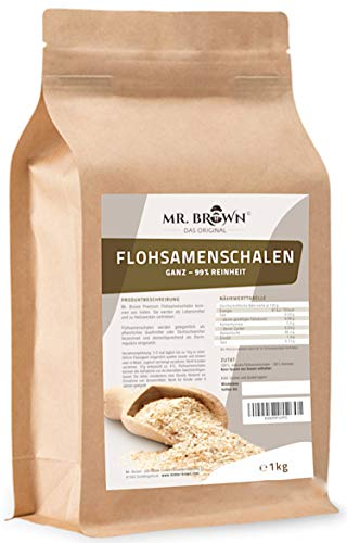 Mr. Brown Flohsamenschalen natur 1000 g   99 % Reinheit   Premium Qualität   Ursprung: Indien   pflanzliches Quellmittel   abgefüllt in Bayern - aktuell zum Einführungspreis !!!