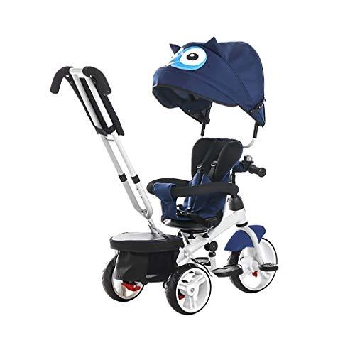 WENJIE Rueda Triciclo, multifunción 4-en-1 Triciclo Inflable con Asiento Giratorio, bebé al Aire Libre Triciclo, 2 Colores, 103x46x100cm (Color : Blue)