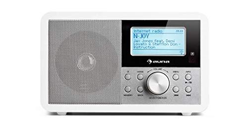 auna Worldwide White Mini Edition - Radio Internet, Dab,Dab+,FM, Puerto USB, Altavoz Mono 2 vatios, WMA, Wi-Fi, Reproduce MP3, AUX, RDS, Temporizador, Alarma Dual, Pantalla LCD, Blanco