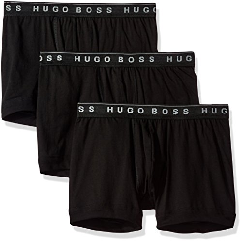 Hugo Boss Men's 3-Pack Cotton Boxer Brief, True Black, Medium