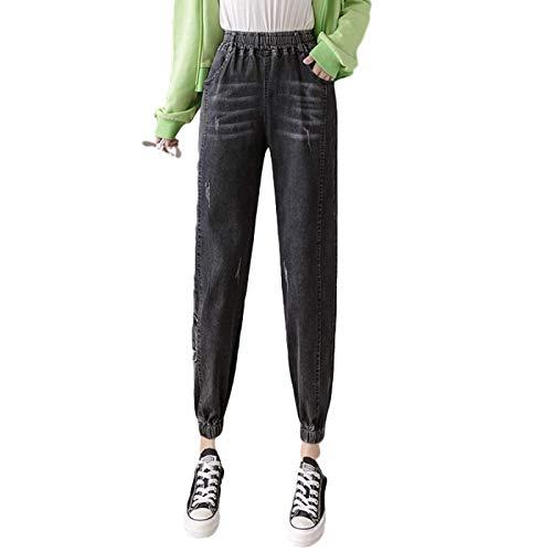 Pantalones Vaqueros Harlan para Mujer, elásticos, Cintura Alta, pies con viga, Ropa de Calle a la Moda, Pantalones de Mezclilla relajados Estampados de Talla Grande L