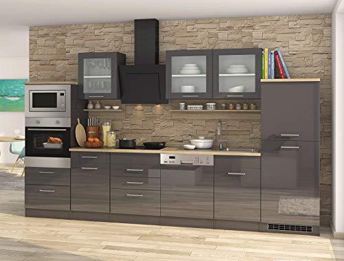 lifestyle4living Küche mit Elektrogeräten 340cm | Küchenzeile Küchenblock Einbauküche E-Geräte | Hochglanz Grau/Eiche Sonoma