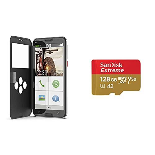 Emporia SMART.5 - Seniorensmartphone mit Triple Kamera, Octa-Core-Prozessor und größerem Akku. Bestens geschützt und SanDisk Extreme microSDXC UHS-I Speicherkarte 128 GB + Adapter und Rescue Pro Deluxe