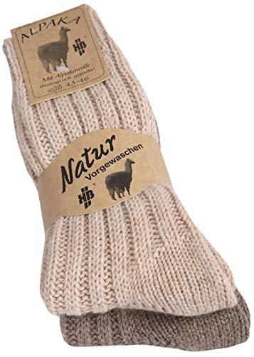 Herren & Damen Alpaka Wollsocken Socken aus Wolle Gr. 39-42, 2 Paar beige/braun)