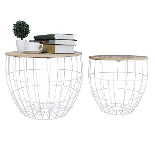 2 Round Nest of Tables Side Tables Set, End Sofa Table Nesting End Tables with Storage Basket Removable Wooden Lid & Metal Basket, 80(Small One)-100kg(Large One) Loading Capacity,White & Oak
