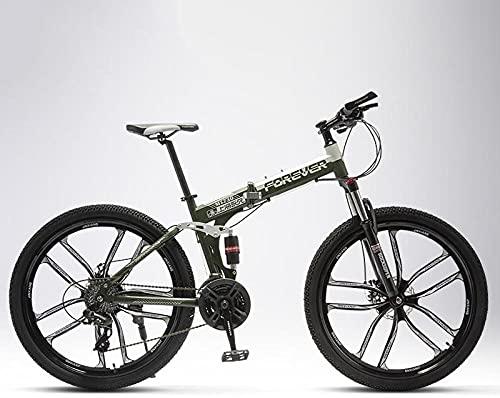 Bicicleta de montaña plegable para hombres y mujeres, para alumnos intermedios, off-road, amortiguador doble, rueda de cuchilla, verde militar, 21 velocidades, 24 pulgadas, frenos de disco